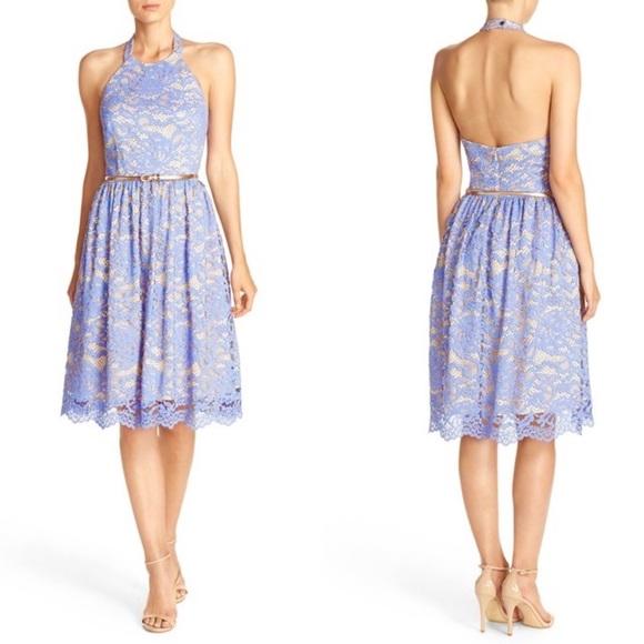 Eliza J Light Blue Lace Halter Fit & Flare Dress